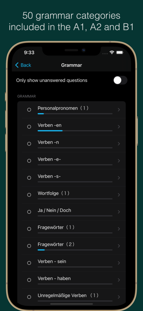 Over 50 grammar categories included in the A1, A2 and B1